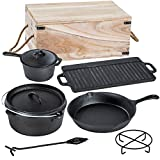 TecTake 9 teiliges Dutch Oven Kochtopf Set aus Gusseisen in Holzkiste dutch oven set-image-Tipp: 7-teiliges Dutch Oven Set in Holzkiste