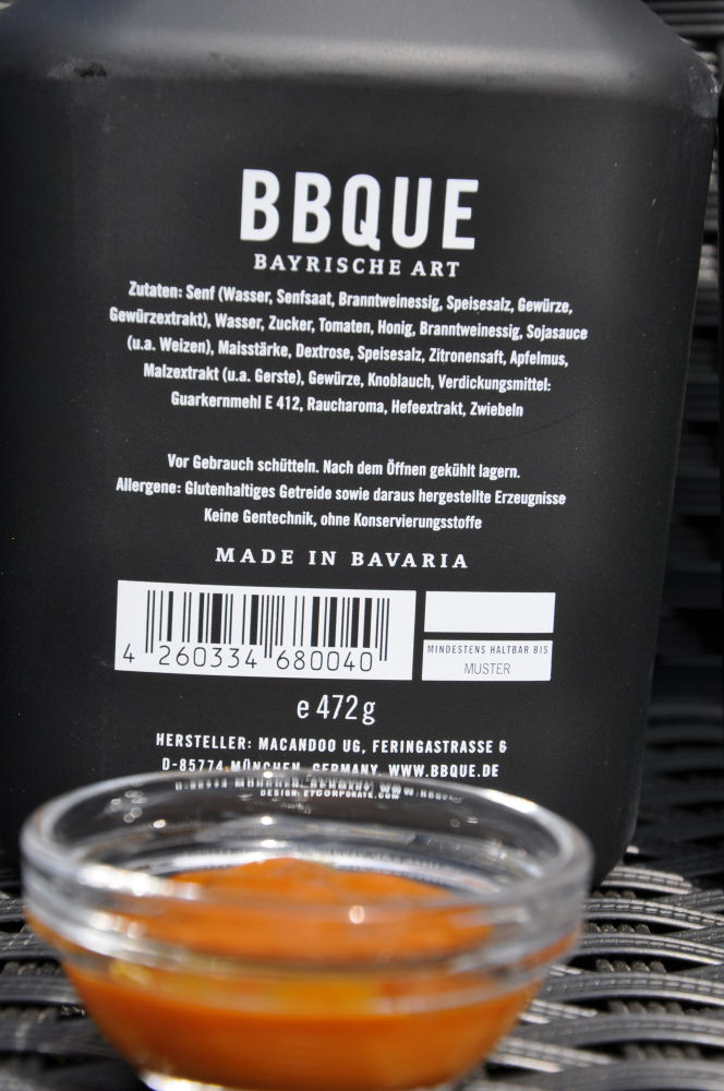 BBQUE Bayrische BBQ-Sauce Honig & Senf BBQUE-BayrischeBBQUESauce04-Alle 4 Sorten BBQUE Bayrische BBQ Sauce im Test