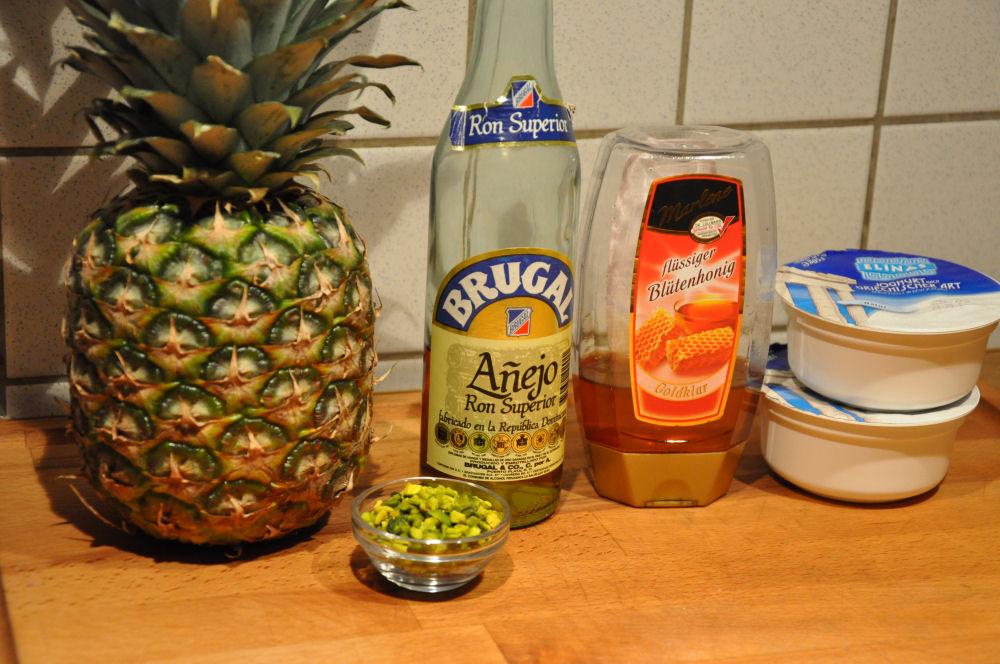 Gegrillte Ananas Gegrillte Ananas mit Pistazien und Honig-Joghurt-Gegrillte Ananas-GegrillteAnanas01
