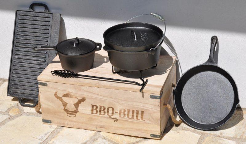dutch oven set-BBQBullDutchOvenSet 800x470-Tipp: 7-teiliges Dutch Oven Set in Holzkiste