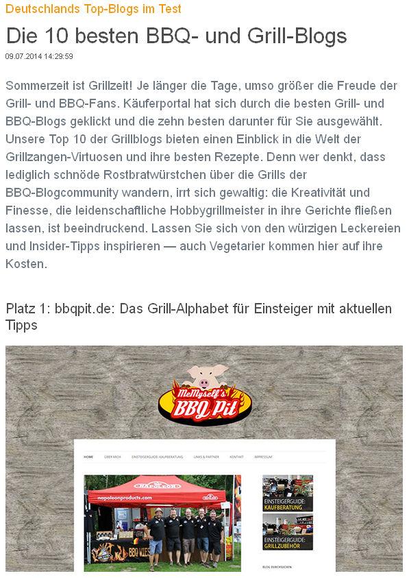 Deutschlands beste BBQ- und Grill-Blogs-TopBlog-Käuferportal.de kürt Deutschlands beste BBQ- und Grill-Blogs: Platz 1 für BBQPit.de