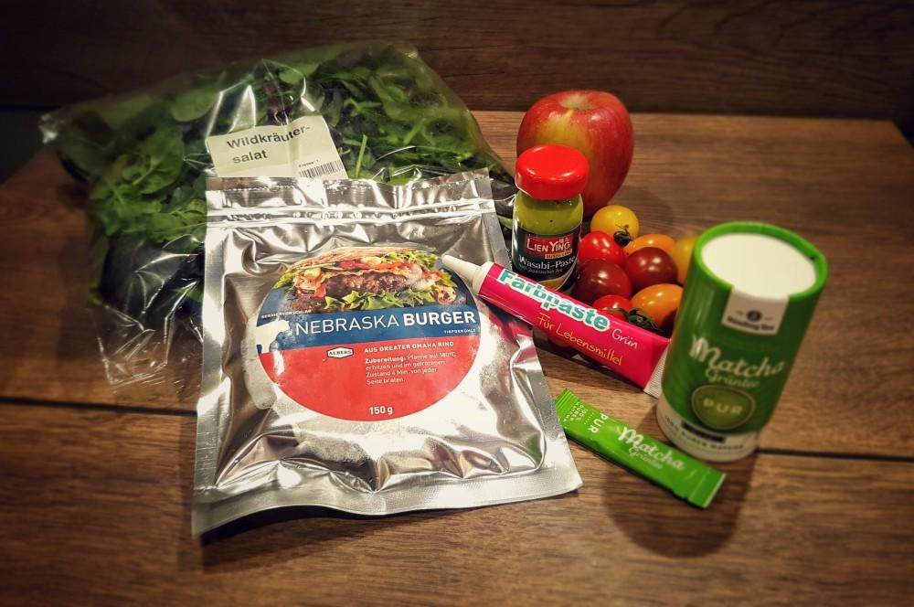 Nebraska Beef Patty Albersfood Grüner Dschungel-Burger zum Dschungelcamp-dschungel-burger-Dschungel Burger Dschungelcamp gruen 01