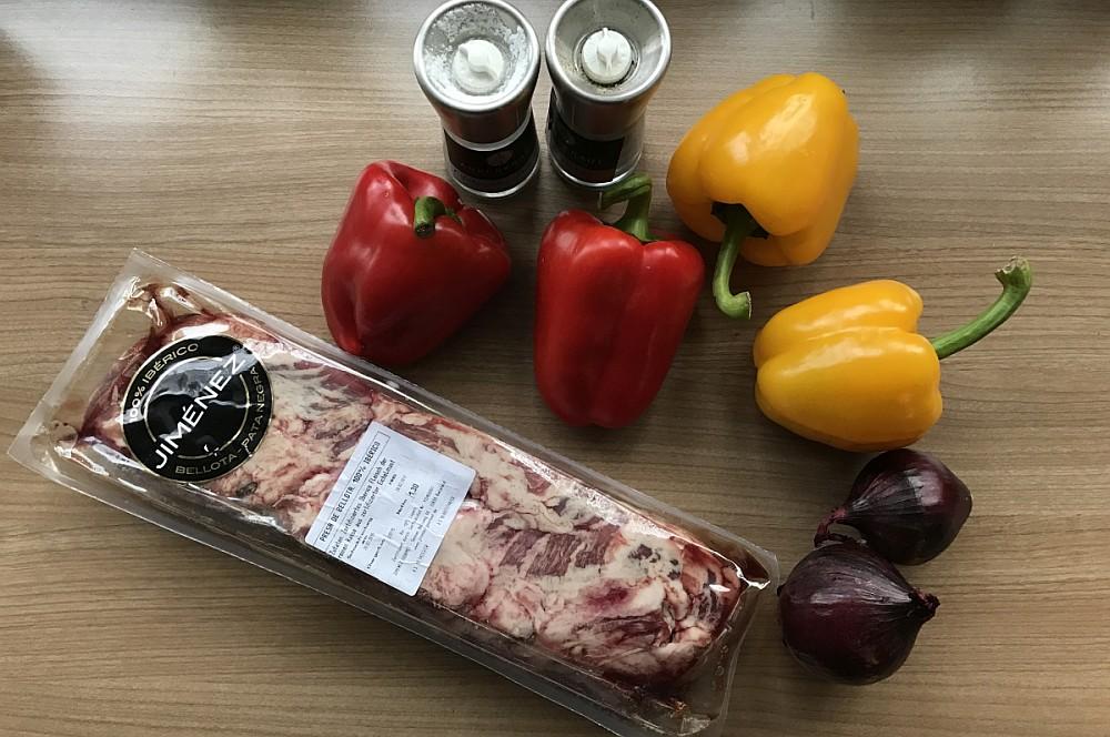 Presa fleischspieß-Iberico Fleischspiess Paprika Zwiebel 01-Iberico Fleischspieß mit Paprika und Zwiebeln