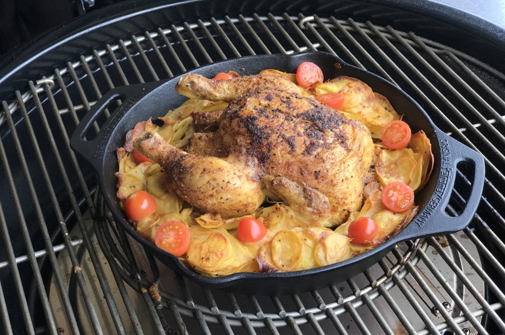 Maishähnchen vom Grill maishähnchen-Maish  hnchen Pit Powder Kartoffeln 03-Maishähnchen mit Kartoffelscheiben vom Grill