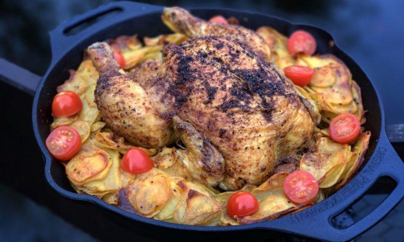 maishähnchen-Maish  hnchen Pit Powder Kartoffeln 800x481-Maishähnchen mit Kartoffelscheiben vom Grill
