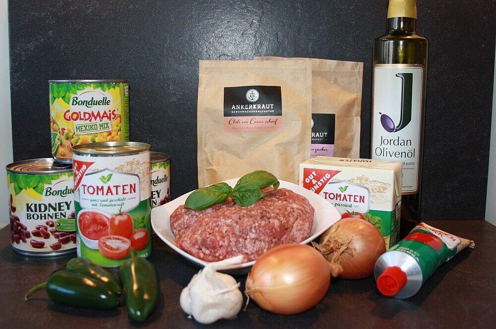 Zutaten für Chili con Carne chili con carne-Chili con Carne Dutch Oven 01-Chili con Carne aus dem Dutch Oven