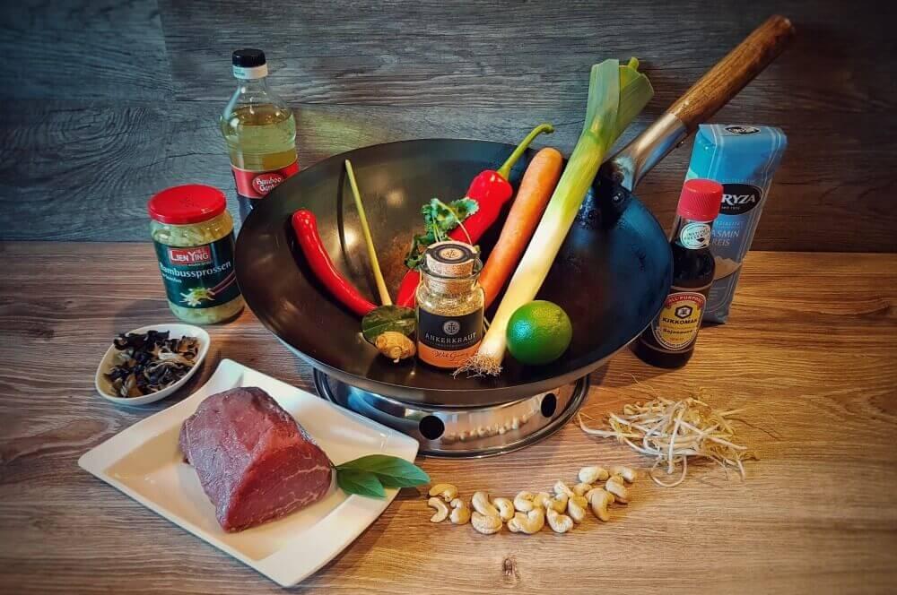 Asiatische Rinderfiletstreifen Asiatische Rinderfiletstreifen mit Gemüse und Cashews aus dem Wok-asiatische rinderfiletstreifen-Asiatische Rinderfiletstreifen Wok 01