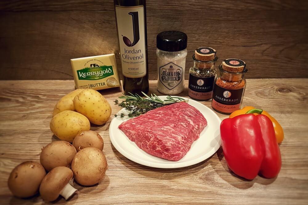 Bavette Steak bavette steak-Flap Steak Bavette Flap Meat 01-Bavette Steak mit Grillgemüse und Hasselback Potatoes