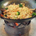 Asia-Nudeln mit Hähnchenbrust chinesische gebratene nudeln-Gebratene Nudeln Haehnchenbrust Wok 150x150-Chinesische gebratene Nudeln mit Hähnchenbrust aus dem Wok