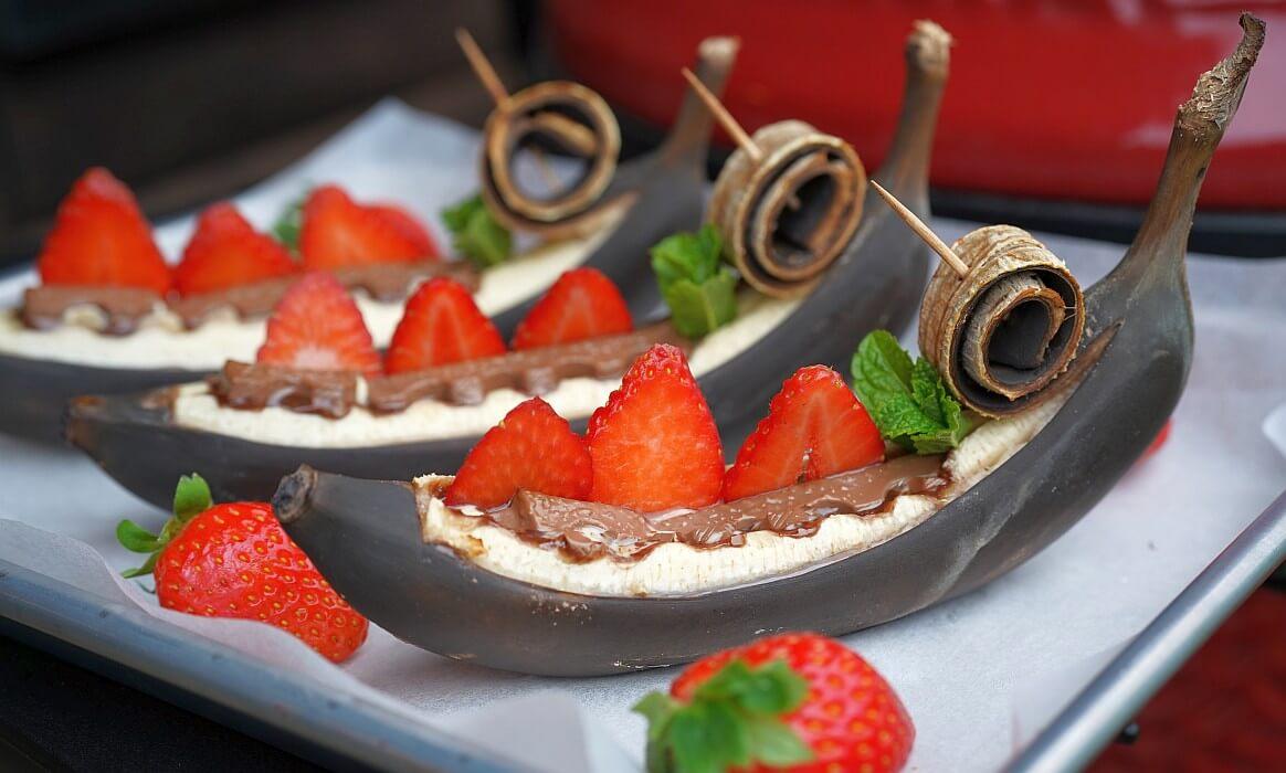 -Gegrillte Banane Schokolade-